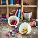 Set for needlework beaded Stock Photo
