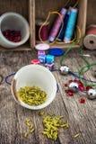 Set for needlework beaded Stock Image