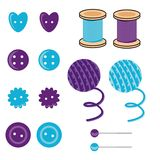 Set with needlework objects Royalty Free Stock Photo