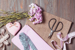 Set for needlework pastel colors Stock Photo