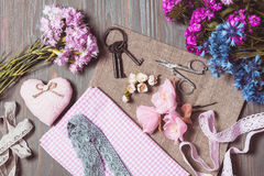 Set for needlework pastel colors Royalty Free Stock Photos