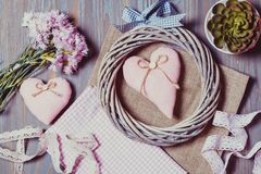 Set for needlework pastel colors royalty free stock images