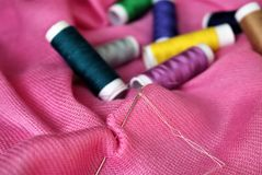 Set for needlework. Set of sewing tools: thread, needle, scissors. Sewing kit. Set for needlework Royalty Free Stock Image
