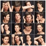 Set of negative emotions of an adult woman with short and gray hair. Black background, close-up. royalty free stock image