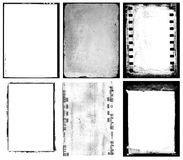 Set of negative films. Illustrated set of abstract photographic negative film edges and overlays, white background stock photography