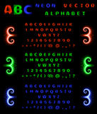 Set of neon alphabet and numbers on a black background. Red, blue, green neon gradient. Vector illustration Royalty Free Stock Image