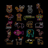 Set of neon animal icons Royalty Free Stock Images