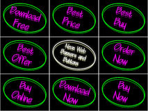 Set of neon banners and buttons Royalty Free Stock Image