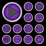 Set of neon buttons purple. Vector illustration Royalty Free Stock Images