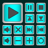 Set of neon buttons. Turquoise for player . Vector illustration Royalty Free Stock Image