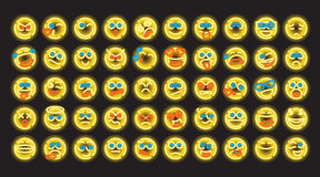 Set of neon emoji vector illustration