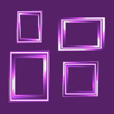 Set of neon frame isolated on purple background. Classic style composition. Blank picture frame template. Modern design element fo. R you product mock-up or Royalty Free Stock Image