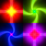 Set of neon glowing backgrounds Stock Photo