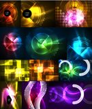 Set of neon glowing geometric shapes, digital abstract backgrounds. Set of neon glowing geometric shapes, vector digital abstract backgrounds Royalty Free Stock Images