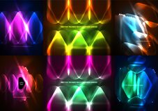 Set of neon glowing geometric shapes, digital abstract backgrounds. Set of neon glowing geometric shapes, vector digital abstract backgrounds Stock Images