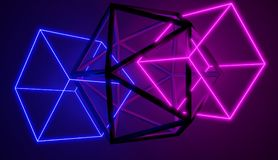 Set of neon glowing and metallic shapes, connected together. Set of neon glowing and metallic shapes, connected together, 3D render. Retro cyber style royalty free illustration
