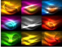 Set of neon glowing waves and lines, shiny light effect digital techno motion backgrounds. Collection of dark space. Magic vector templates. Vector illustration royalty free illustration
