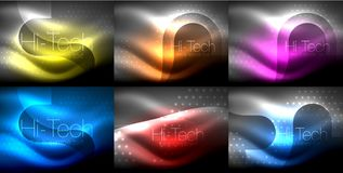 Set of neon glowing waves and lines, shiny light effect digital techno motion backgrounds. Collection of dark space. Magic vector templates. Vector illustration stock illustration