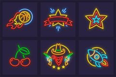Set of neon icons burning basketball ball. Set of neon icons. Burning basketball ball star cherry berries cowboy from Wild West and rocket in space. EPS10 vector Stock Photography