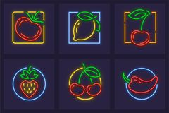 Set of neon icons with fruits Royalty Free Stock Images