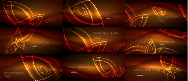 Set of neon leaves abstract backgrounds Royalty Free Stock Image