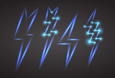 Set of neon lightning with sparks. Stock Photos