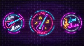 Set of neon live music symbols with circle frames. Three live music signs with guitar, saxophone, notes. Set of neon live music symbols with circle frames on vector illustration