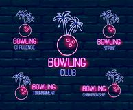 Set of neon logos in pink-blue colors. Collection of 5  illustrations for tropical bowling for tournament, challenge, vector illustration