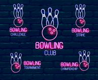 Set of neon logos in pink-blue colors with skittles, bowling ball Collection of 5  signs for winter bowling tournament, vector illustration
