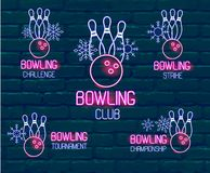 Set of neon logos in pink-blue colors with skittles, bowling ball, snowflakes. Collection of 5 vector signs for winter bowling stock photos