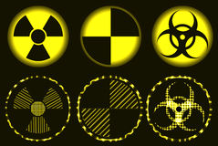 Set of neon nuclear hazard, quarantine and biohazard symbols. Set of nuclear hazard, quarantine and biohazard neon symbols, common and laser royalty free illustration