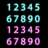Set of neon numbers,  vector Royalty Free Stock Photo