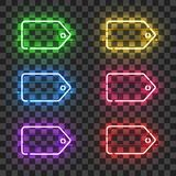 Set of neon price tags with different colors Royalty Free Stock Images