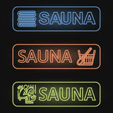Set of Neon Sauna Banners Royalty Free Stock Photography