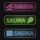 Set of Neon Sauna Banners Royalty Free Stock Images