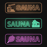 Set of Neon Sauna Banners Royalty Free Stock Photos