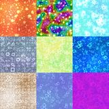 Set of neon shape symbols generated seamless textures. Or backgrounds Stock Photos