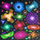 A set of neon shining brilliant design elements. Of different colors and stars and flare on a transparent background, Lighting Effects, Lens Flare and Sparkle Vector Illustration