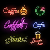 Set of neon sign Stock Photos