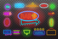 Set of neon sign light at night  transparent background vector illustration,  bright glowing electric advertis. Set of neon sign light at night at transparent Stock Photo