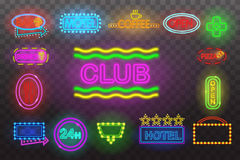 Set of neon sign light at night  transparent background vector illustration,  bright glowing electric advertis. Set of neon sign light at night at transparent Stock Images