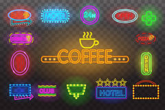 Set of neon sign light at night  transparent background vector illustration,  bright glowing electric advertis Stock Photography