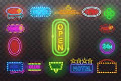 Set of neon sign light at night  transparent background vector illustration,  bright glowing electric advertis. Set of neon sign light at night at transparent Royalty Free Stock Photos