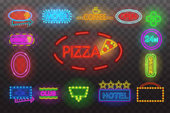 Set of neon sign light at night  transparent background vector illustration,  bright glowing electric advertis Stock Photo