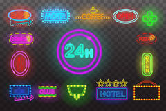 Set of neon sign light at night  transparent background vector illustration,  bright glowing electric advertise. Set of neon sign light at night at transparent Stock Image