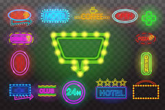 Set of neon sign light at night  transparent background vector illustration, isolated bright glowing electric advertis. Set of neon sign light at night at Royalty Free Stock Photography