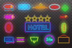 Set of neon sign light at night  transparent background vector illustration, isolated bright glowing electric advertis Royalty Free Stock Images