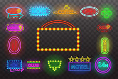 Set of neon sign light at night  transparent background vector illustration, isolated bright glowing electric advertise Royalty Free Stock Image