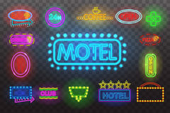 Set of neon sign light at night  transparent background vector illustration, isolated bright glowing Stock Photos