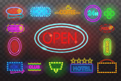Set of neon sign light at night  transparent background vector illustration, isolated bright glowing electric. Set of neon sign light at night at transparent Stock Image
